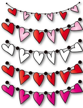 Sweet Swags Clip Art! ~ Hearts ~ Valentine's Day Buntings