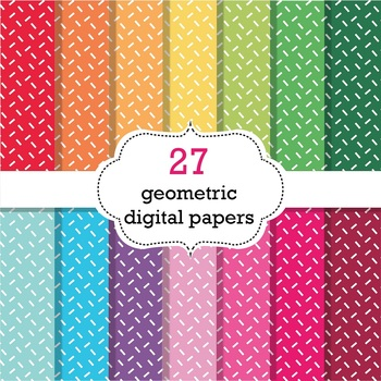 FREE 27 Geometric Digital Papers Scrapbook Papers, Geometric Background Papers
