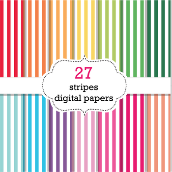 FREE 27 Stripes Digital Papers Scrapbook Papers, Stripes Background Papers