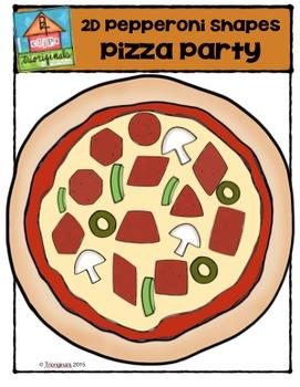 FREE 2D Pepperoni Shapes Pizza Party {P4 Clips Trioriginals Digital Clip Art}