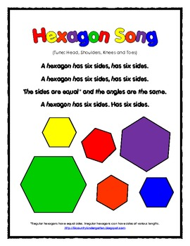 free 2d shapes hexagon song and worksheet by lil country librarian. Black Bedroom Furniture Sets. Home Design Ideas