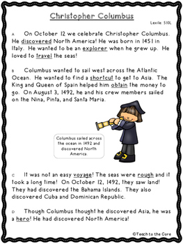 FREE 2nd-4th Grade Christopher Columbus Text Passage and G
