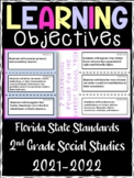 2nd Grade Florida Social Studies Learning Objective Cards | Color & B&W