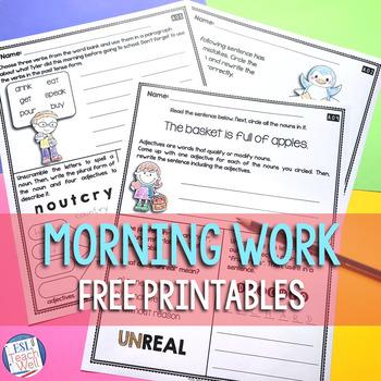 Second Grade Morning Work Bundle FREE SAMPLE |  Morning Work 2nd Grade