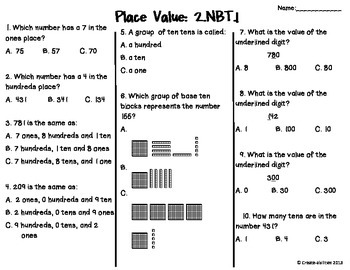 place value test 2nd grade free by create abilities tpt. Black Bedroom Furniture Sets. Home Design Ideas