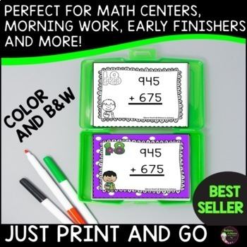 FREE! 3 Digit Addition with Regrouping (24 Task Cards)