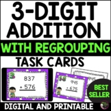 Three-Digit Addition WITH Regrouping (24 Task Cards)- FREE