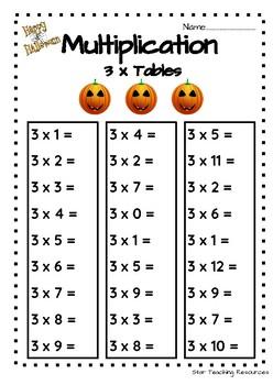 FREE- 3 x Tables, Halloween Theme (Multiplication)