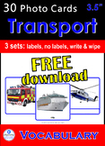 Photo Picture Cards Transport- Vehicles FREEBIE Speech Therapy Autism Sp Ed ESL