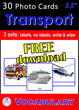 "FREE Photo Picture Flash Cards ""Transport - Vehicles"" Spee"