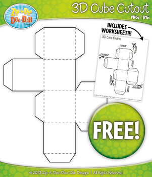 {FREE} 3D Blank Cube Block Cutout Clipart and Worksheet Set