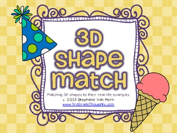 FREE 3D Shapes Matching Activity