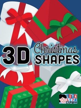 FREE 3D shapes christmas clipart set