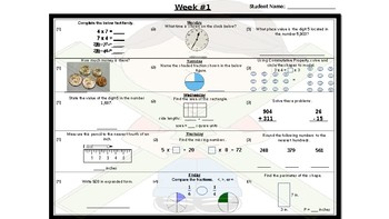 FREE 3rd & 4th Grade Math Morning Work Problems for Two Weeks