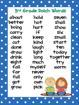 FREE 3rd Grade Dolch Word list and cards
