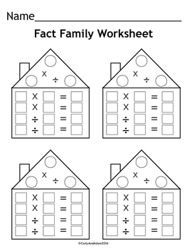 Free Fact Family Worksheets By Carly And Adam  Teachers Pay Teachers Free Fact Family Worksheets