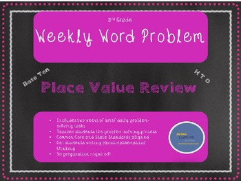 FREE 3rd Grade Weekly Word Problem Set on Place Value