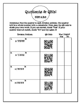 FREE 4 Digit Division with Remainders Worksheet with QR Codes