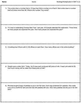 FREE 4.NBT.5 Math Word Problem Google Slides with Companion Sheets