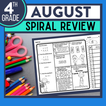 FREE 4TH GRADE Homework Morning Work for MATH - BACK TO SCHOOL (August)