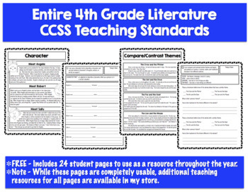 FREE - 4th Grade CCSS Literature Skill Pages
