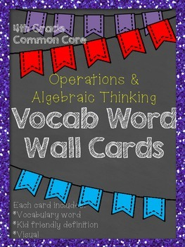 FREE 4th Grade Common Core Vocabulary Word Wall: Operations & Algebraic Thinking