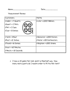 FREE 4th Grade Math Measurement Word Problem Review Packet