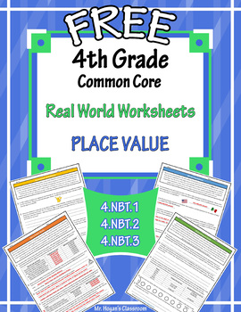 FREE 4th Grade Real World Problems: Place Value