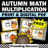 FREE Thanksgiving Math Activities 4th Grade Multiplication Task Cards Centers