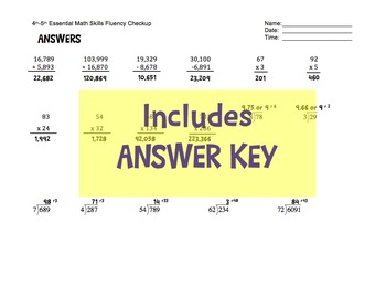 FREE!  4th and 5th Grade One Page Math Skills Fluency Test