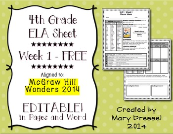 FREE - 4th grade Week 1 ELA sheet: aligned to McGraw Hill Wonders