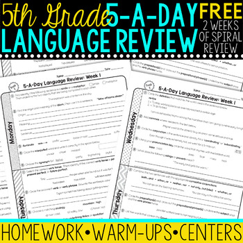 5th Grade Daily Language Spiral Review - 1 Week FREE
