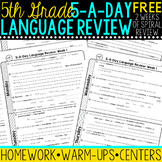 5th Grade Daily Language Spiral Review - 2 Weeks FREE