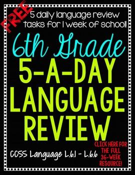 6th Grade Daily Language Spiral Review - 1 Week FREE