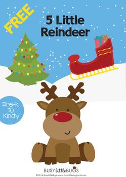 FREE - 5 Little Reindeer Finger Puppets for Christmas