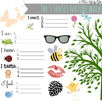 free 5 senses nature walk worksheet by the nanny teacher tpt. Black Bedroom Furniture Sets. Home Design Ideas
