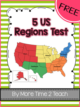 FREE US Regions Map Test By More Time Teach TpT - Regions of us map