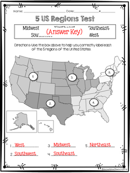 FREE  US Regions Map Test By More Time  Teach TpT - 5 us regions map