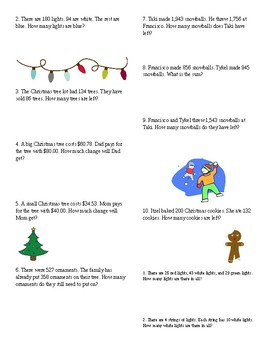 FREE! 5 pages of Christmas Word Problems!