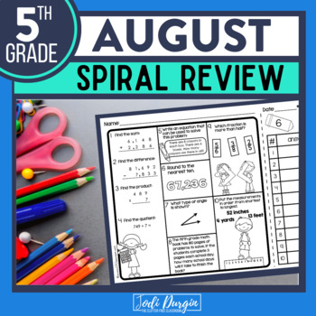 FREE 5TH GRADE Homework Morning Work for MATH - BACK TO SCHOOL (August)