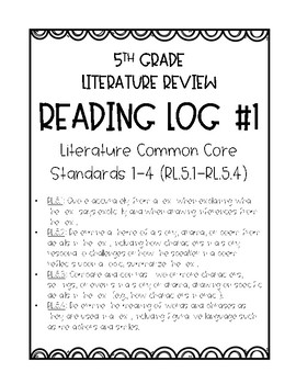 FREE 5th Grade Common Core Reading Response Logs