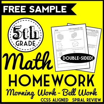 FREE 5th Grade Math Homework, 5th Grade Spiral Review, 5th Grade Morning Work