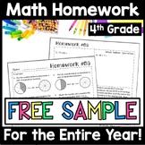 FREE 4th Grade Math Homework Sample, FREE Spiral Review, FREE Morning Work