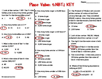 Place Value Test 5th Grade FREE