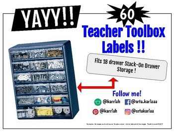 FREE: 60 Teacher Toolbox LABELS!!! Fits 18 drawer Stack-On unit!
