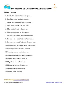 FREE 65 Spanish Winter Holiday Writing Prompts