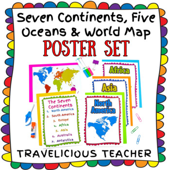 7 Continents & World Map Poster Set