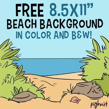 FREE 8.5x11 Beach Background in Both Color and B&W | Pirates | Beach Scene
