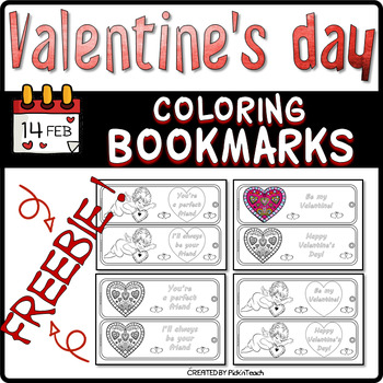 FREE - 8 Valentine's Day coloring BOOKMARKS
