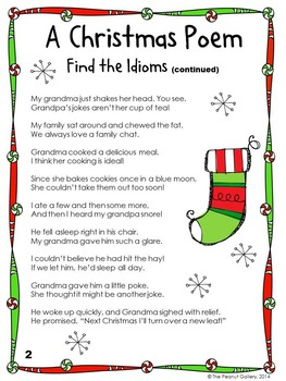 Christmas Poem.Free A Christmas Poem Find The Idioms